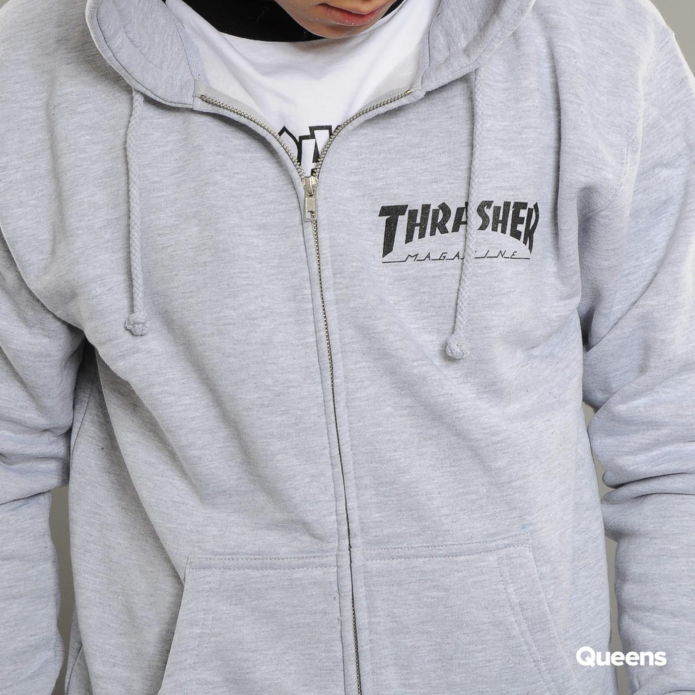 Thrasher Magazine Logo Zip Hoody melange gray