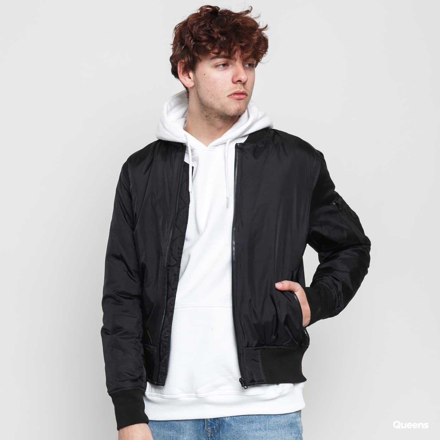 Urban Classics Tech Zip Bomber Jacket čierna