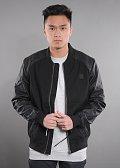 Urban Classics Cotton Bomber Leather Initation Sleeve Jacket