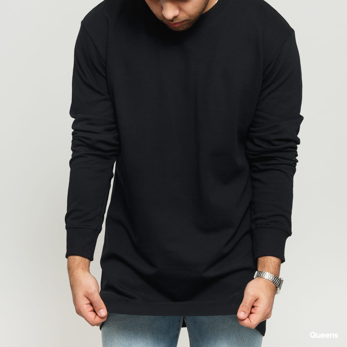 Urban Classics Long Light Fleece Crewneck čierna