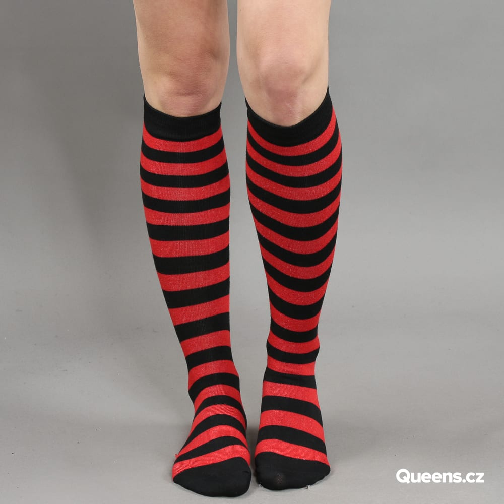 Urban Classics Ladies Striped Socks schwarz / rot