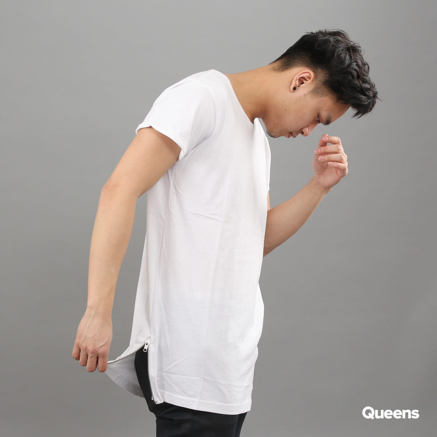 Urban Classics Long Shaped Side Zip Tee white