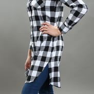 Urban Classics Ladies Checked Flanell Shirt Dress černé / bílé