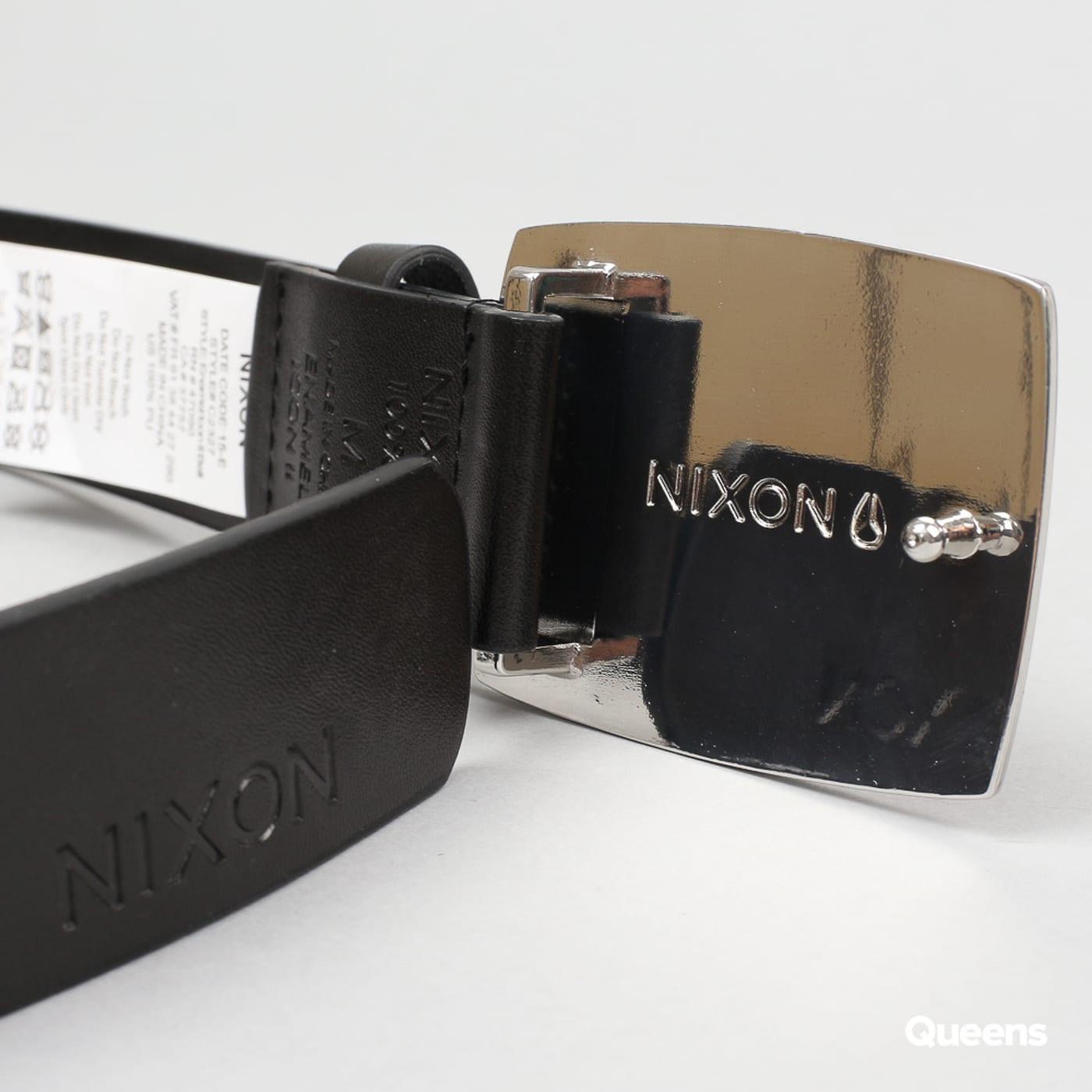 Nixon Enamel Icon Belt II čierny / strieborný