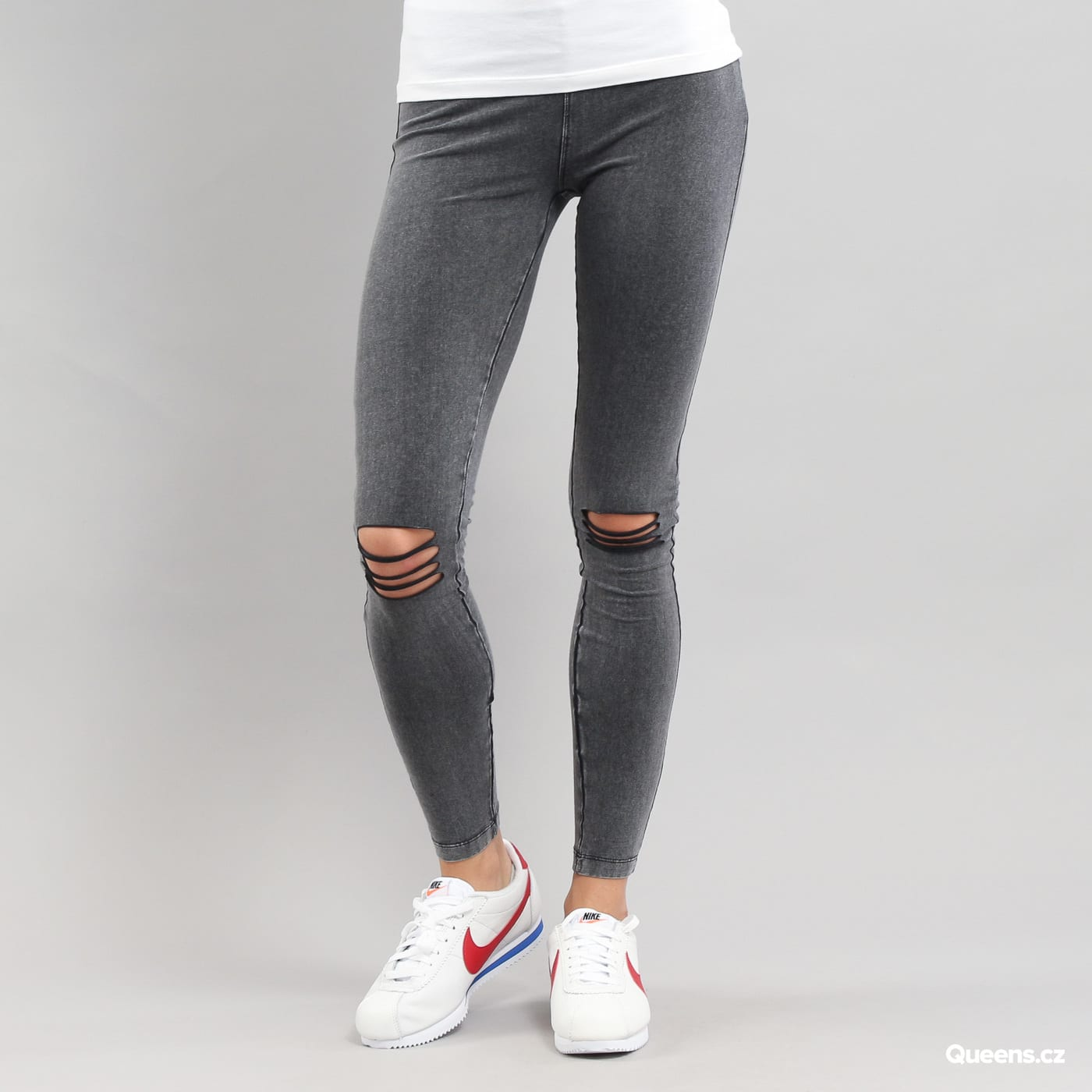 Urban Classics Ladies Cutted Knee Leggings melange black