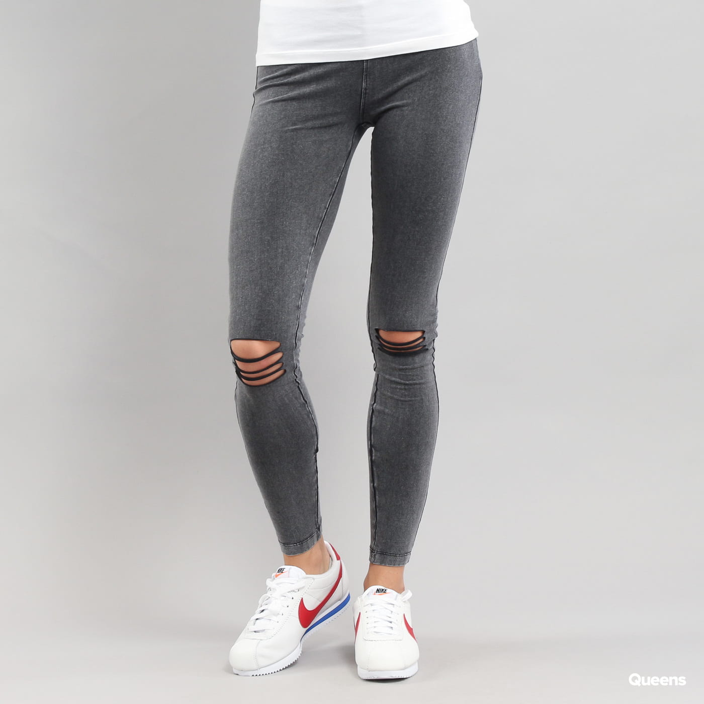 Urban Classics Ladies Cutted Knee Leggings melange čierne