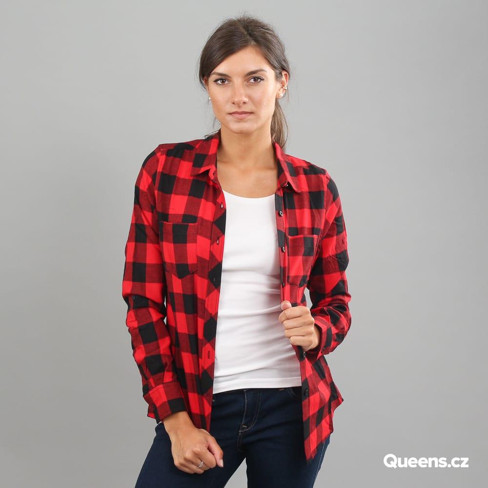 Urban Classics Ladies Turnup Checked Flanell Shirt čierna / červená