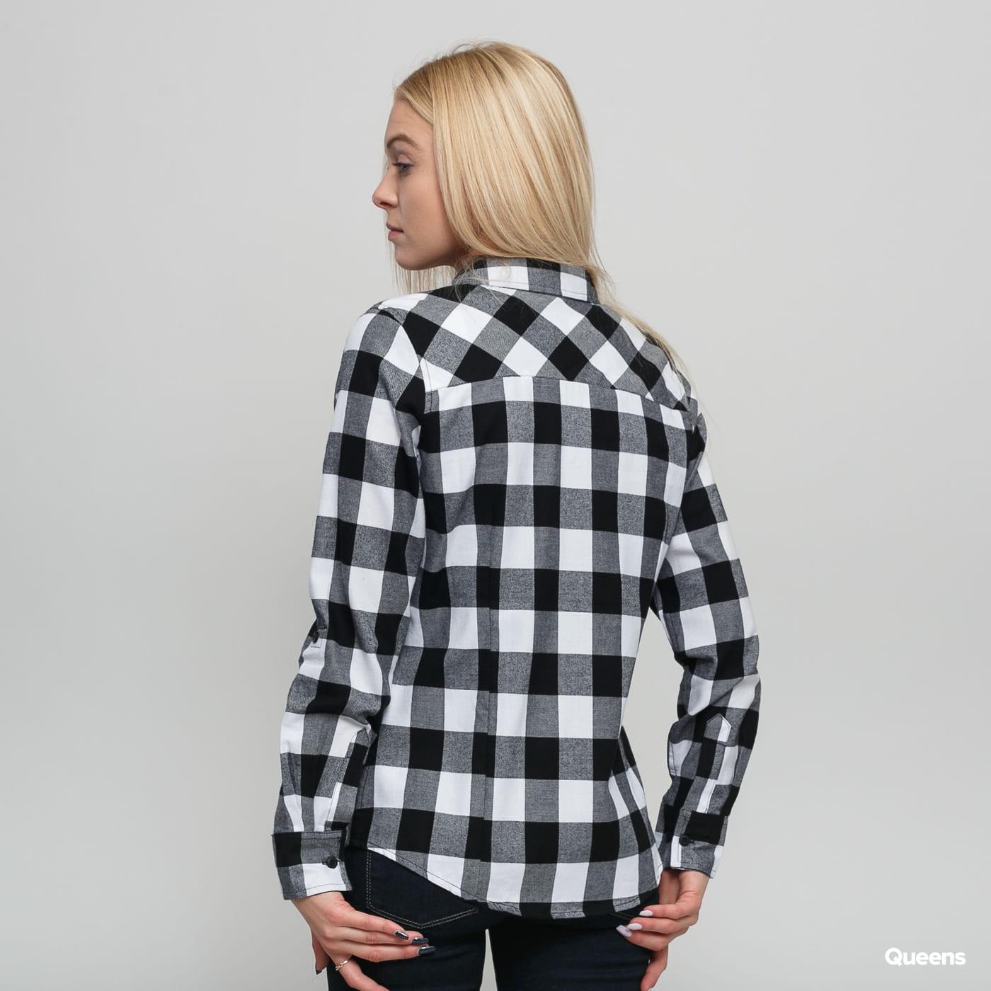 Urban Classics Ladies Turnup Checked Flanell Shirt schwarz / weiß