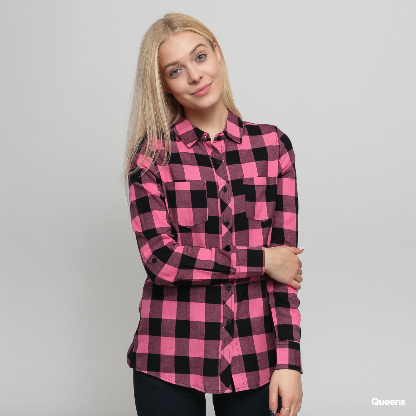 Urban Classics Ladies Turnup Checked Flanell Shirt schwarz / pink
