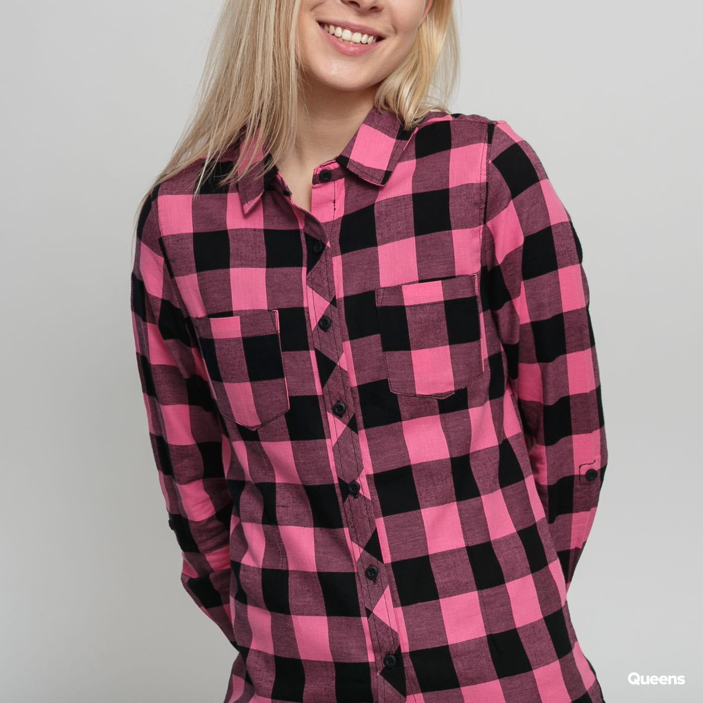 Urban Classics Ladies Turnup Checked Flanell Shirt čierna / ružová