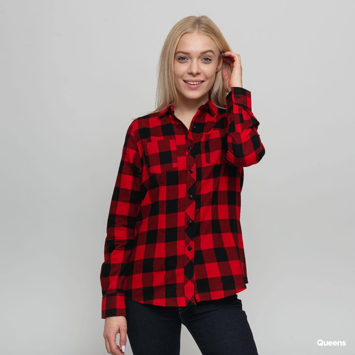 Urban Classics Ladies Turnup Checked Flanell Shirt Schwarz / rot