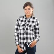 Urban Classics Ladies Turnup Checked Flanell Shirt černá / bílá