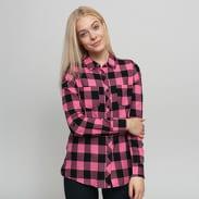 Urban Classics Ladies Turnup Checked Flanell Shirt černá / růžová