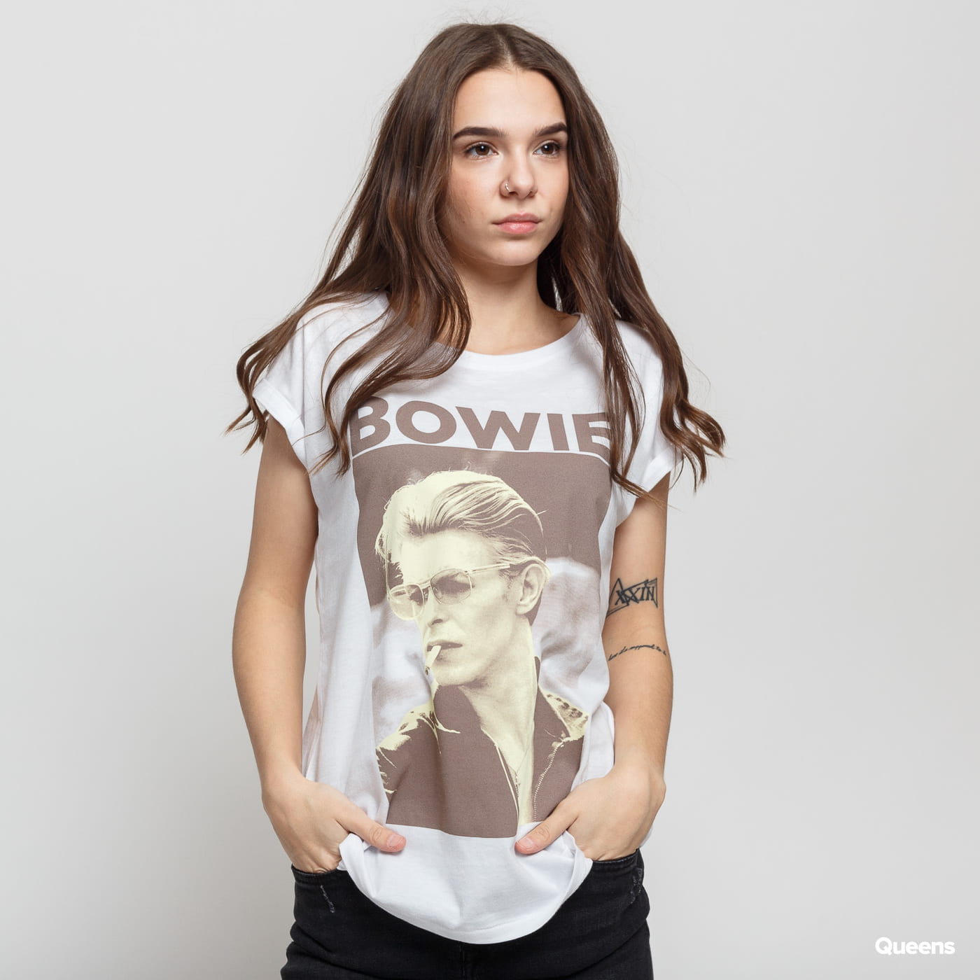 Urban Classics Ladies David Bowie Tee white