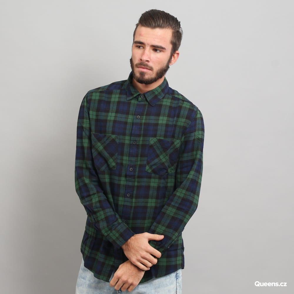 Urban Classics Checked Flanell Shirt 3 tmavozelená / navy / čierna