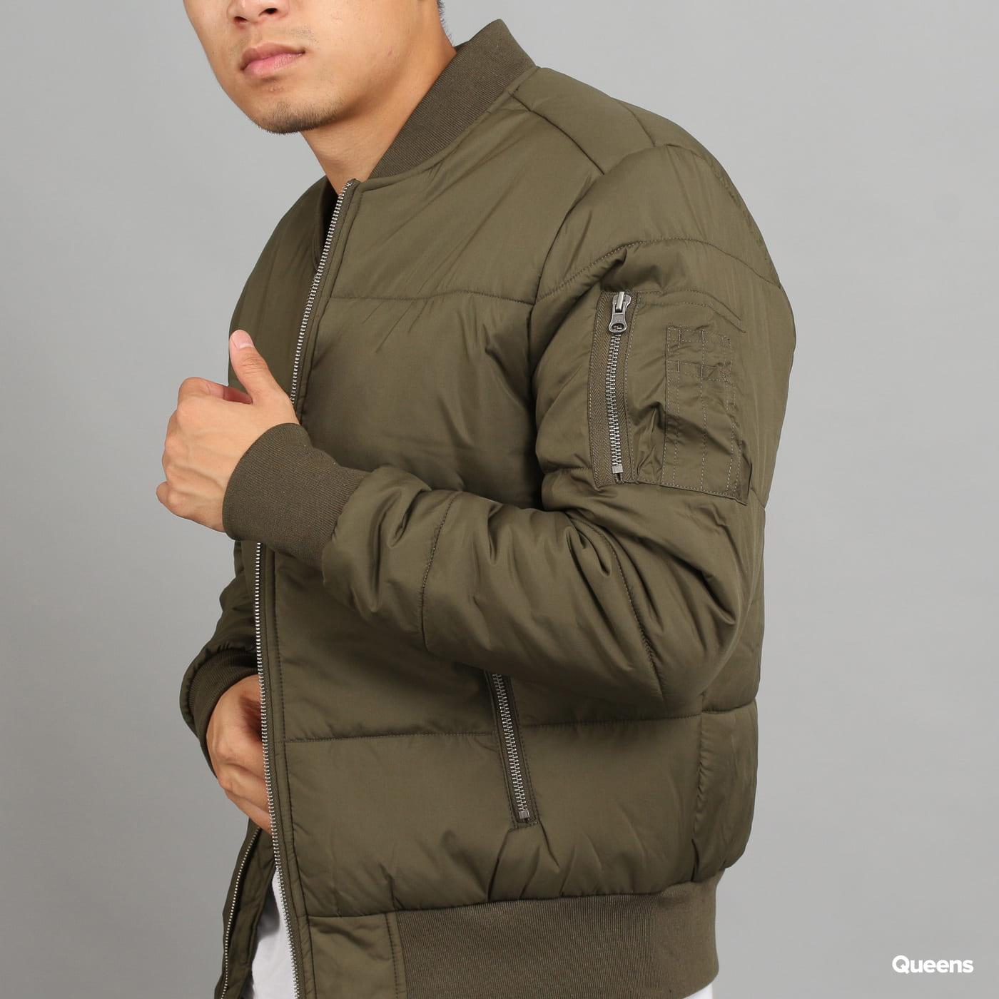 Urban Classics Basic Quilt Bomber Jacket olivová