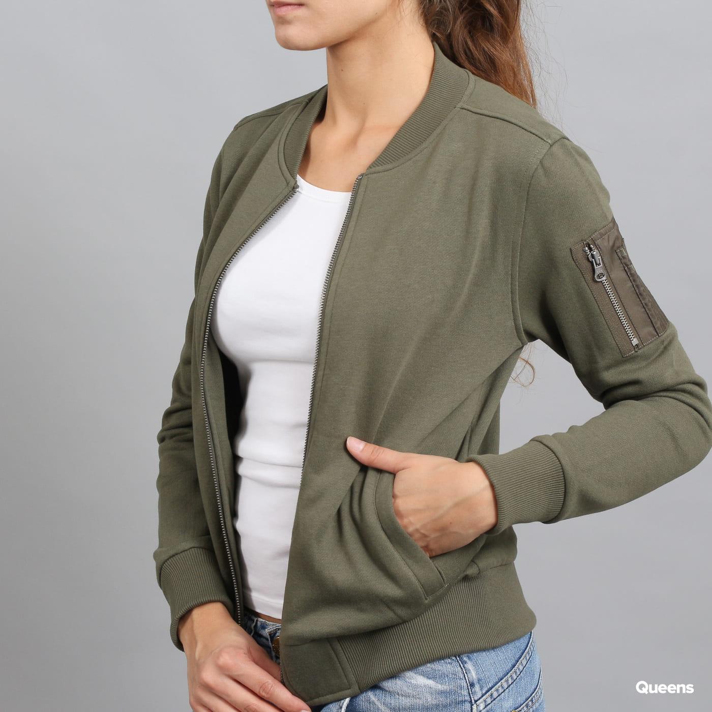 Urban Classics Ladies Sweat Bomber Jacket olivová