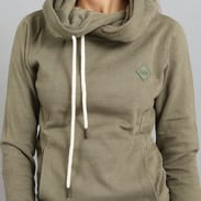 Urban Classics Ladies Long Logopatch Hoody olivová