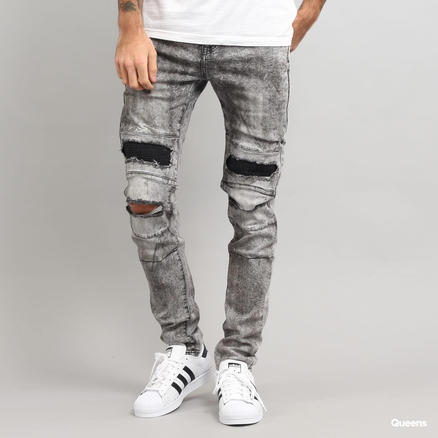 Sixth June Biker Destroy Jeans washed ligthly grey