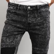 Sixth June Biker Destroy Jeans acid wash black