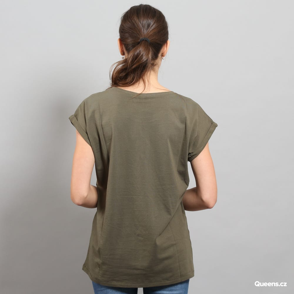 Urban Classics Ladies Extended Shoulder Tee olivové