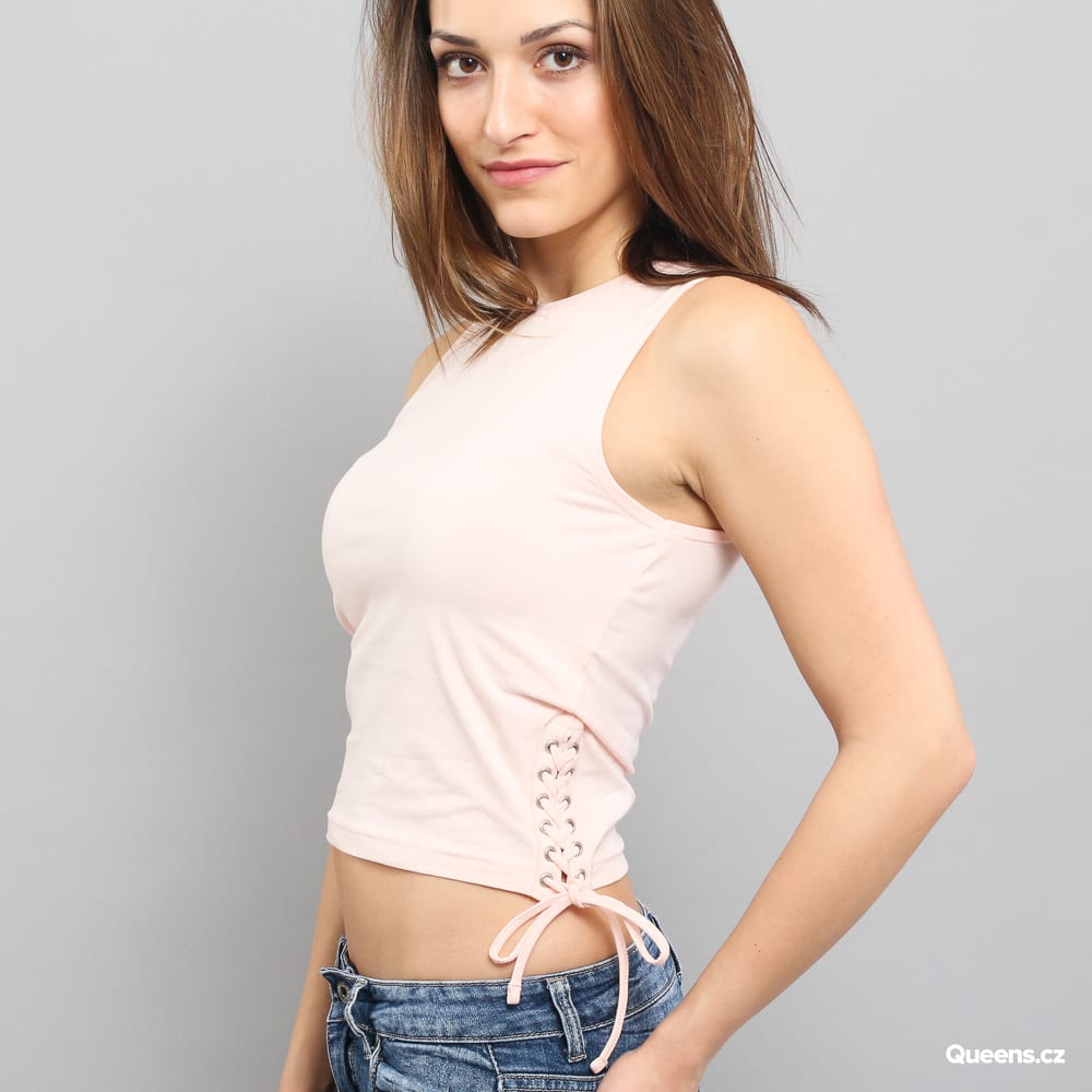 Urban Classics Ladies Lace Up Cropped Top rosa