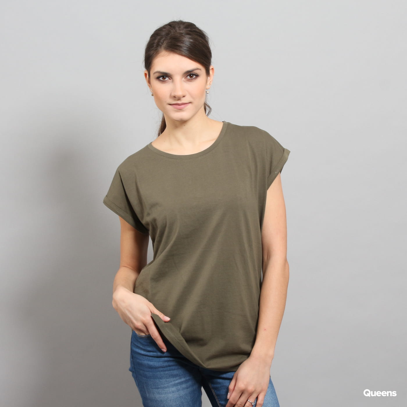 Urban Classics Ladies Extended Shoulder Tee olive
