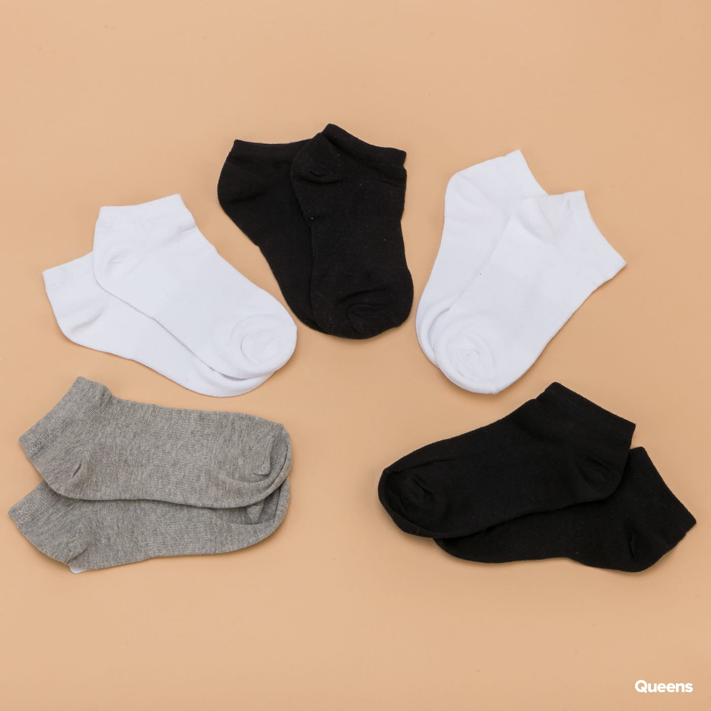 Urban Classics No Show Socks 5-Pack čierne / biele / šedé