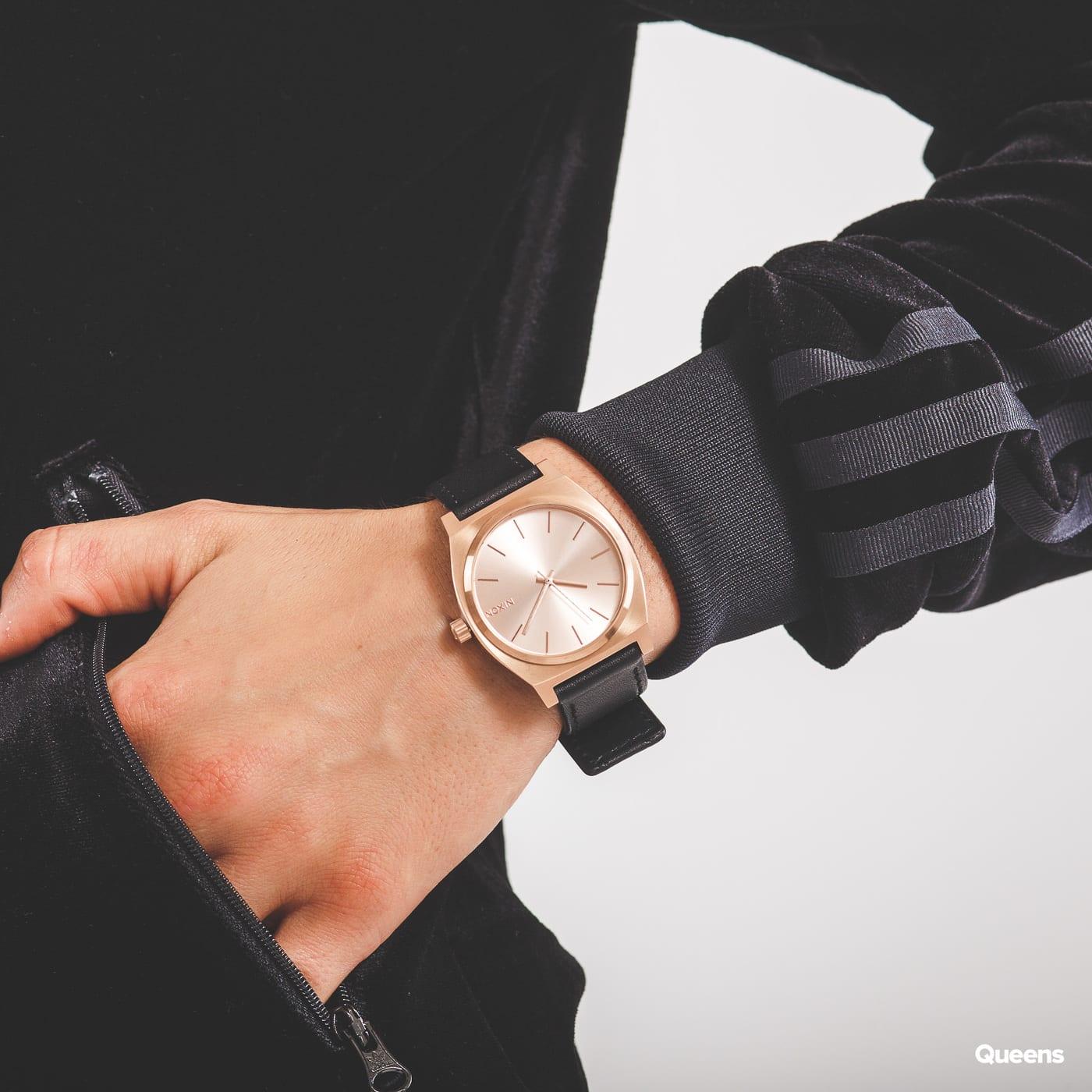 Nixon Time Teller čierne / ružovo-zlaté
