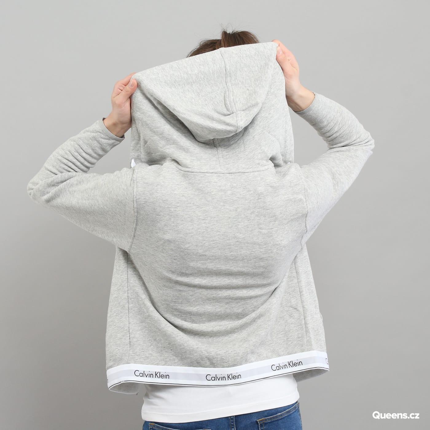 Calvin Klein Top Hoodie Full Zip C/O melange šedá