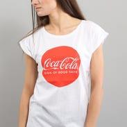 Urban Classics Ladies Coca Cola Round Logo Tee bílé