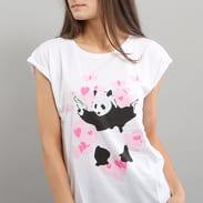 Urban Classics Ladies Banksy Panda Heart Tee bílé