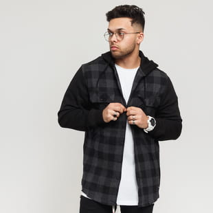 Urban Classics Hooded Checked Flanell Sweat Sleeve Shirt