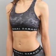 Criminal Damage Basic Bra Top Camo černý / tmavě šedý