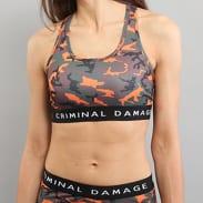 Criminal Damage Basic Bra Top Camo oranžový / hnědý / zelený