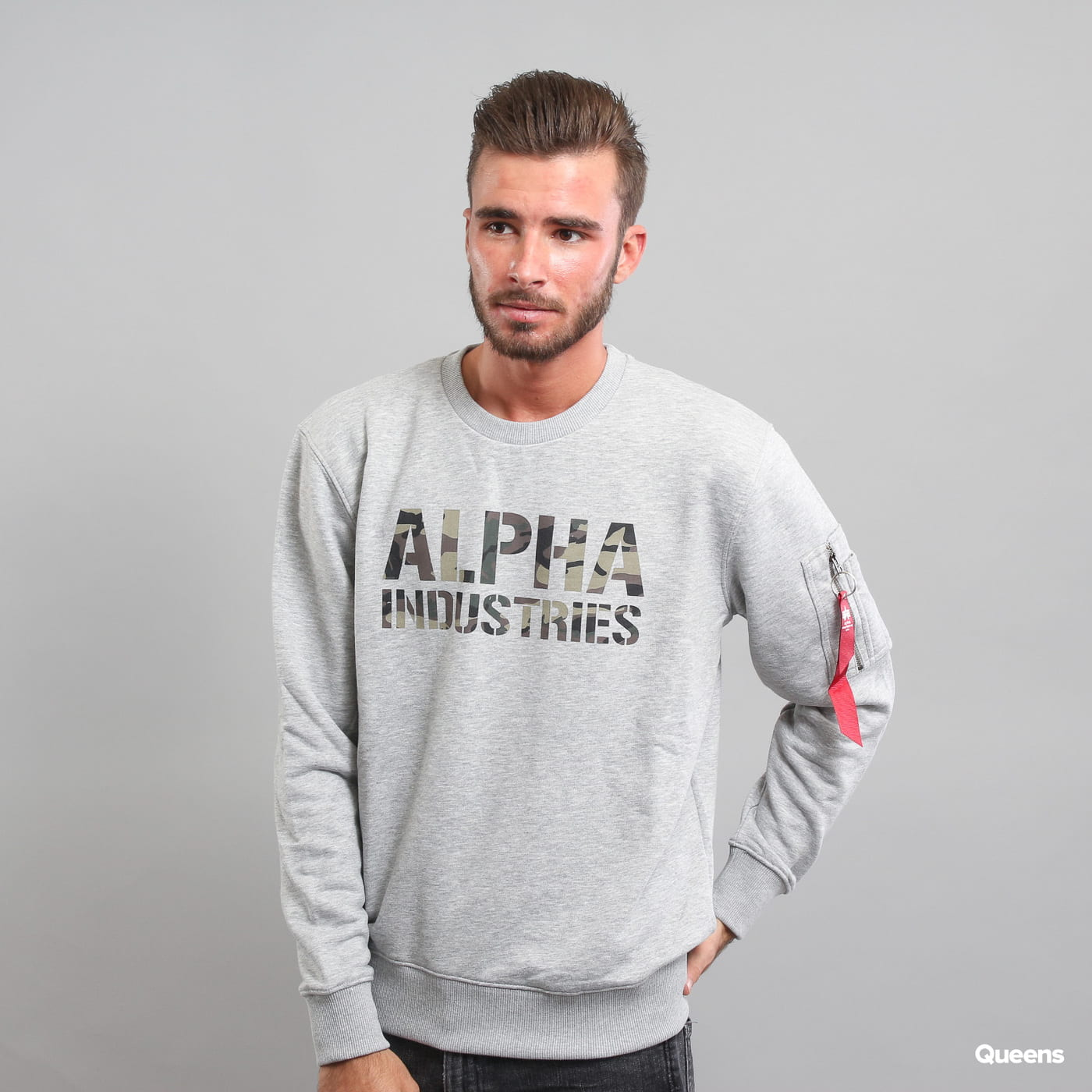 Alpha Industries Camo Print Sweat grey melange