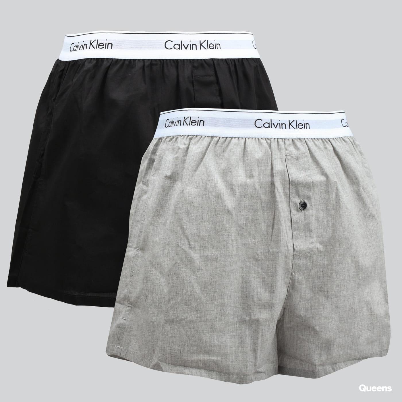 Calvin Klein 2 Pack Slim Fit Boxers C/O čierne / melange šedé