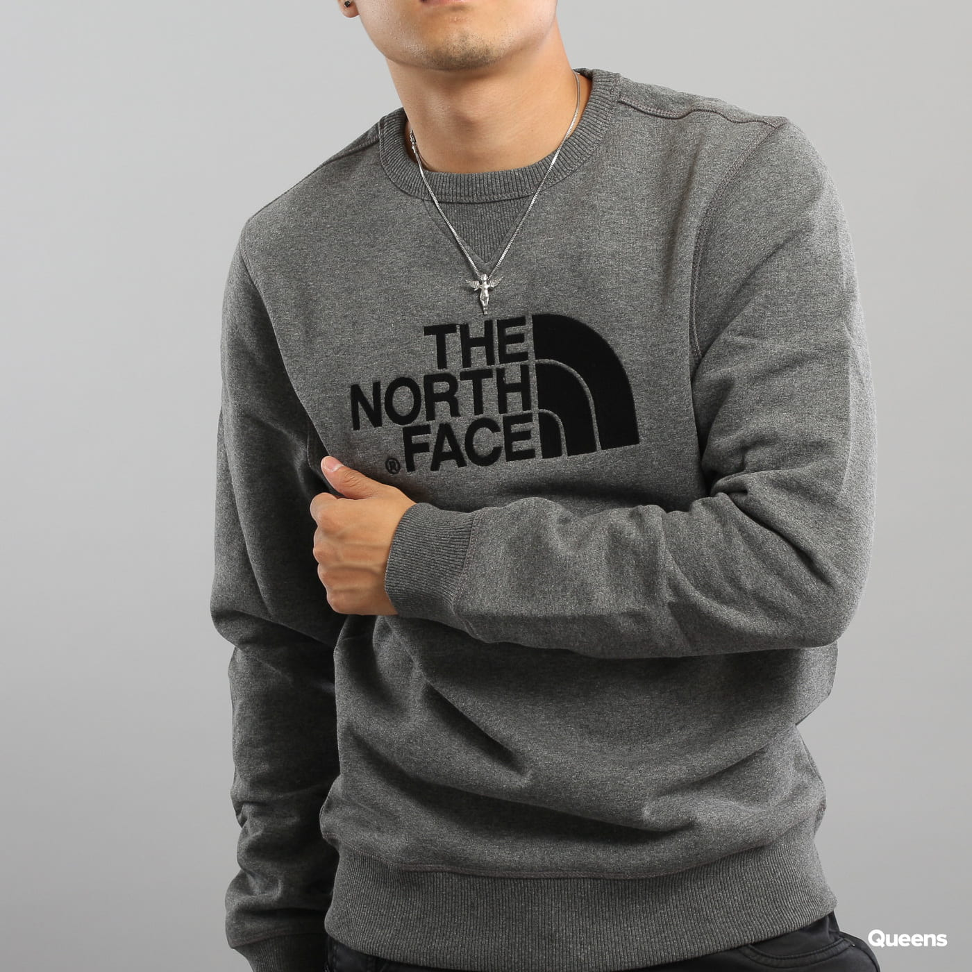 The North Face M Drew Peak Crew dunkelgrau melange