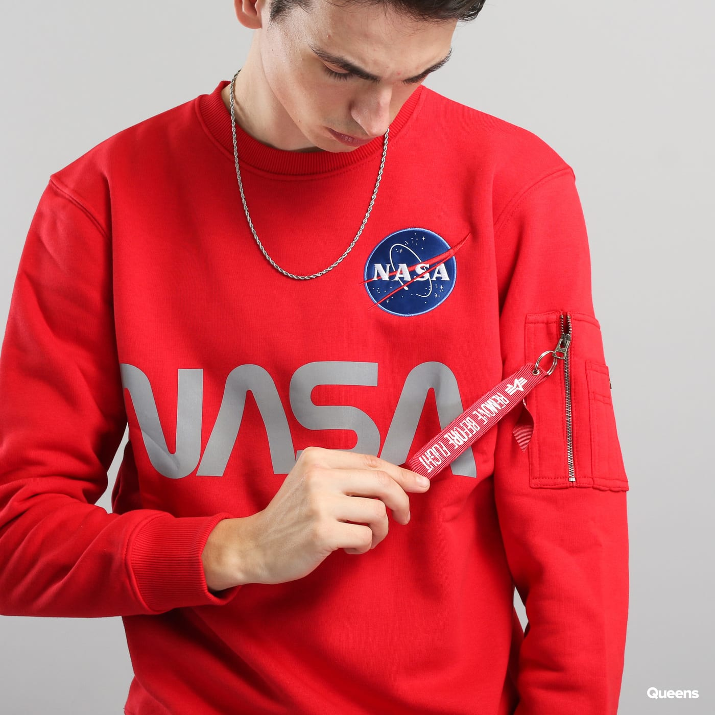 Alpha Industries NASA Reflective Sweater červená