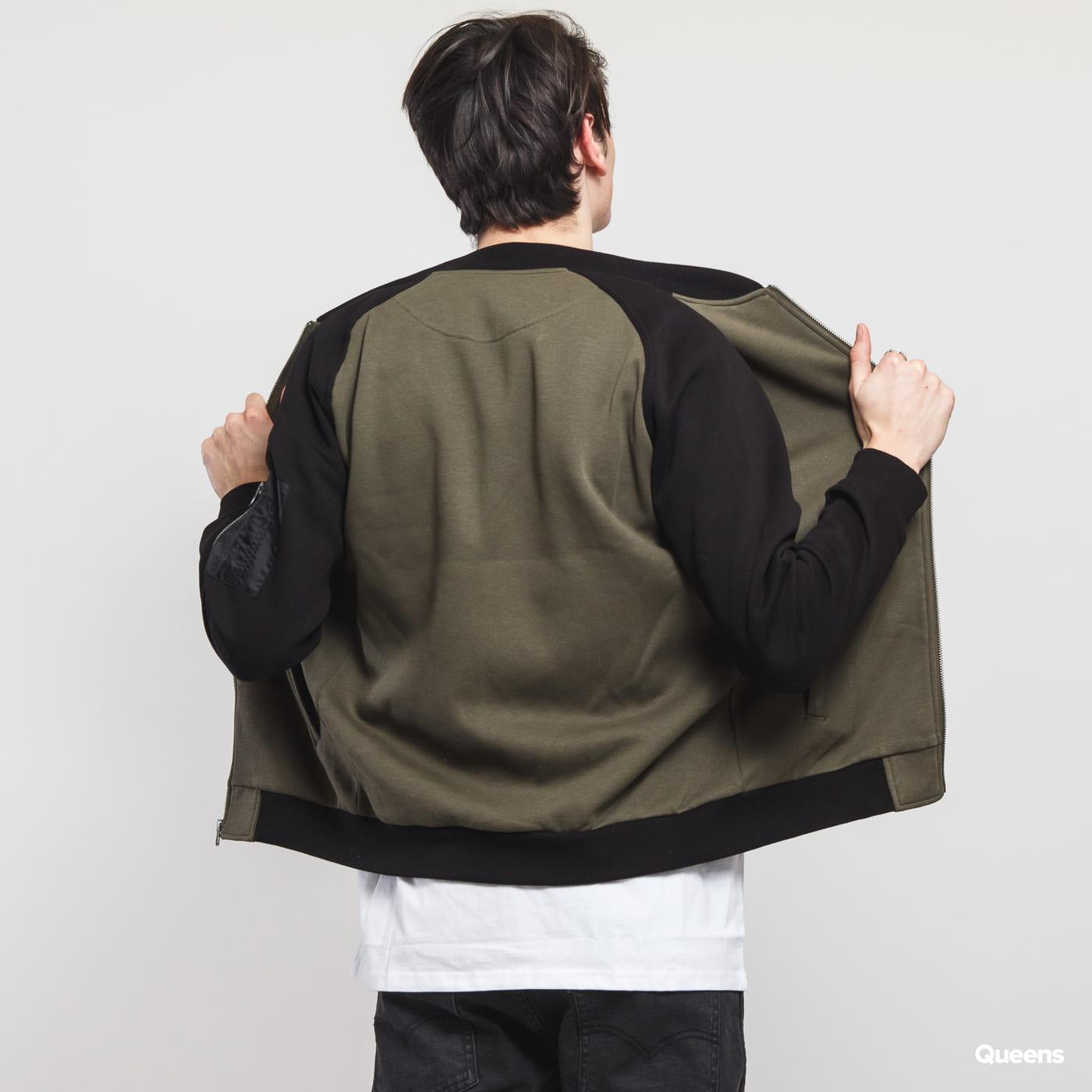 Urban Classics 2-Tone Raglan Sweat Bomber olivová / čierna