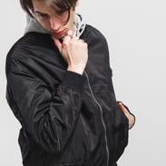 Urban Classics Hooded Oversized Bomber Jacket černá / melange šedá