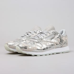 Reebok Classic Leather Textural silver met skull grey wht
