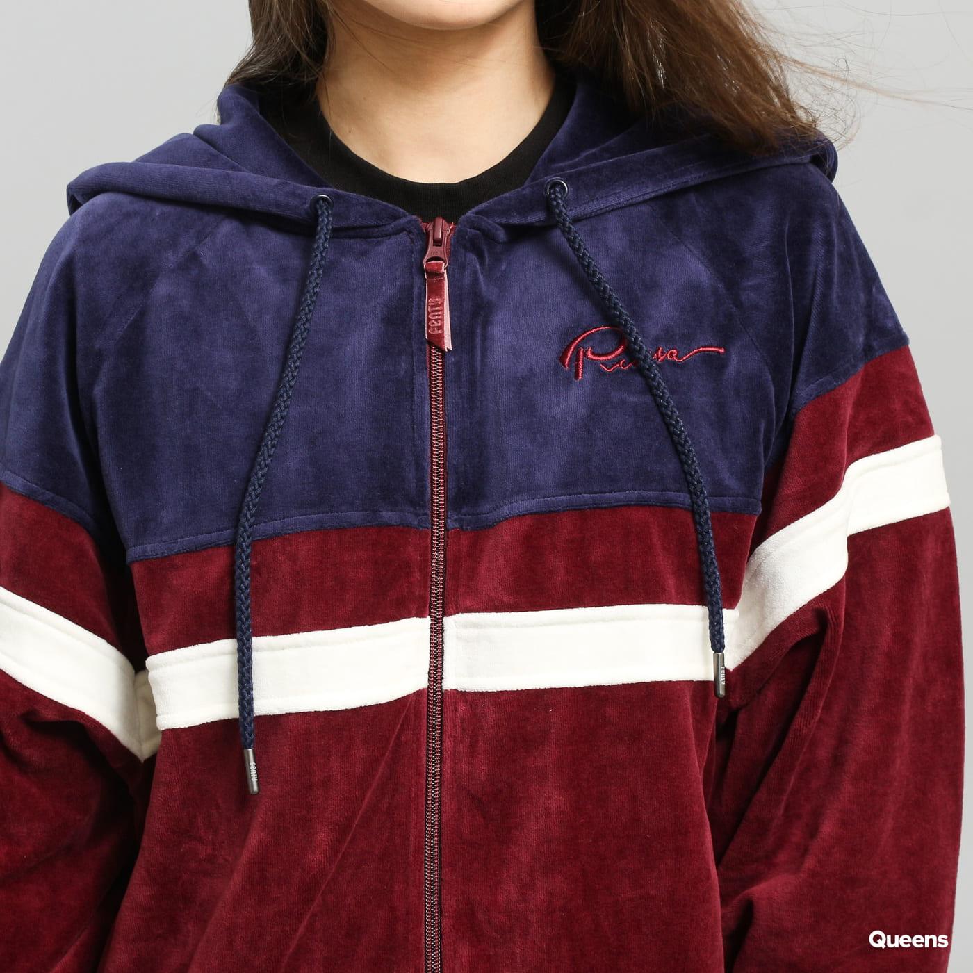 Puma Velour Hooded Track Jacket vínová / navy