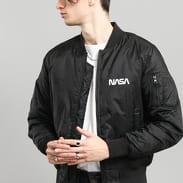 Urban Classics NASA Worm Logo Bomber Jacket černá