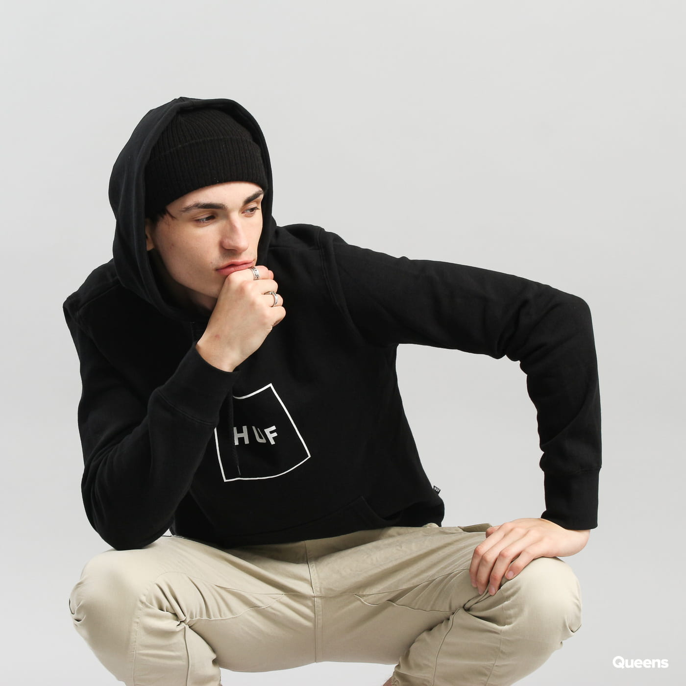 HUF Box Logo Hooded Sweatshirt čierna