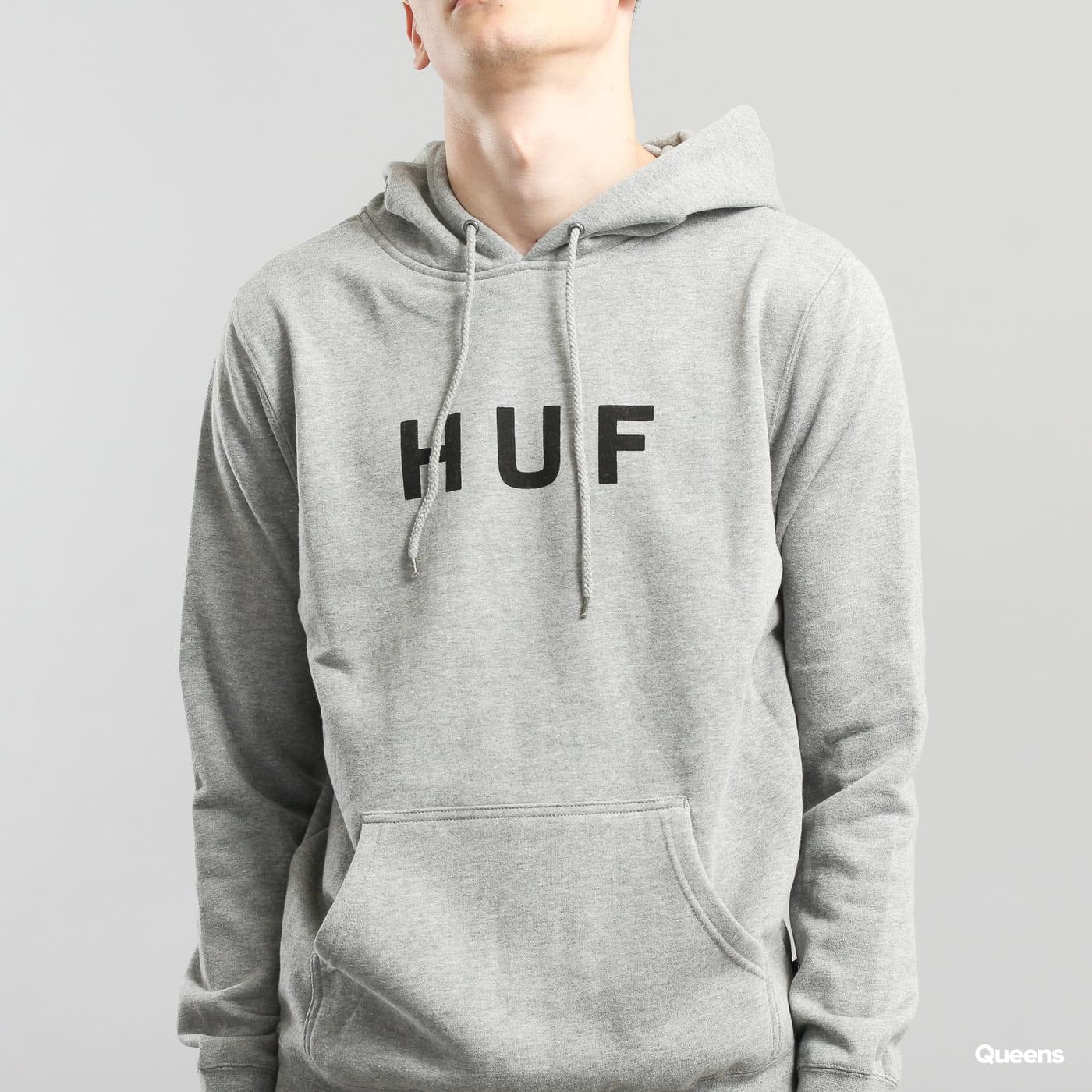 HUF Original Logo Pullover Hoodie melange šedá