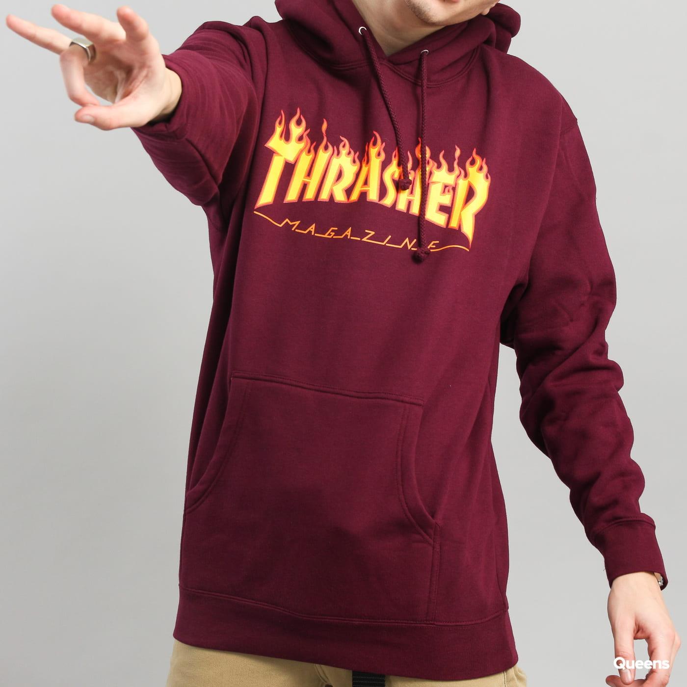 Thrasher Flame Logo Hood dark bordeaux