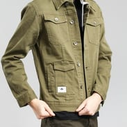 LRG RC Hooded Denim Jacket olivová