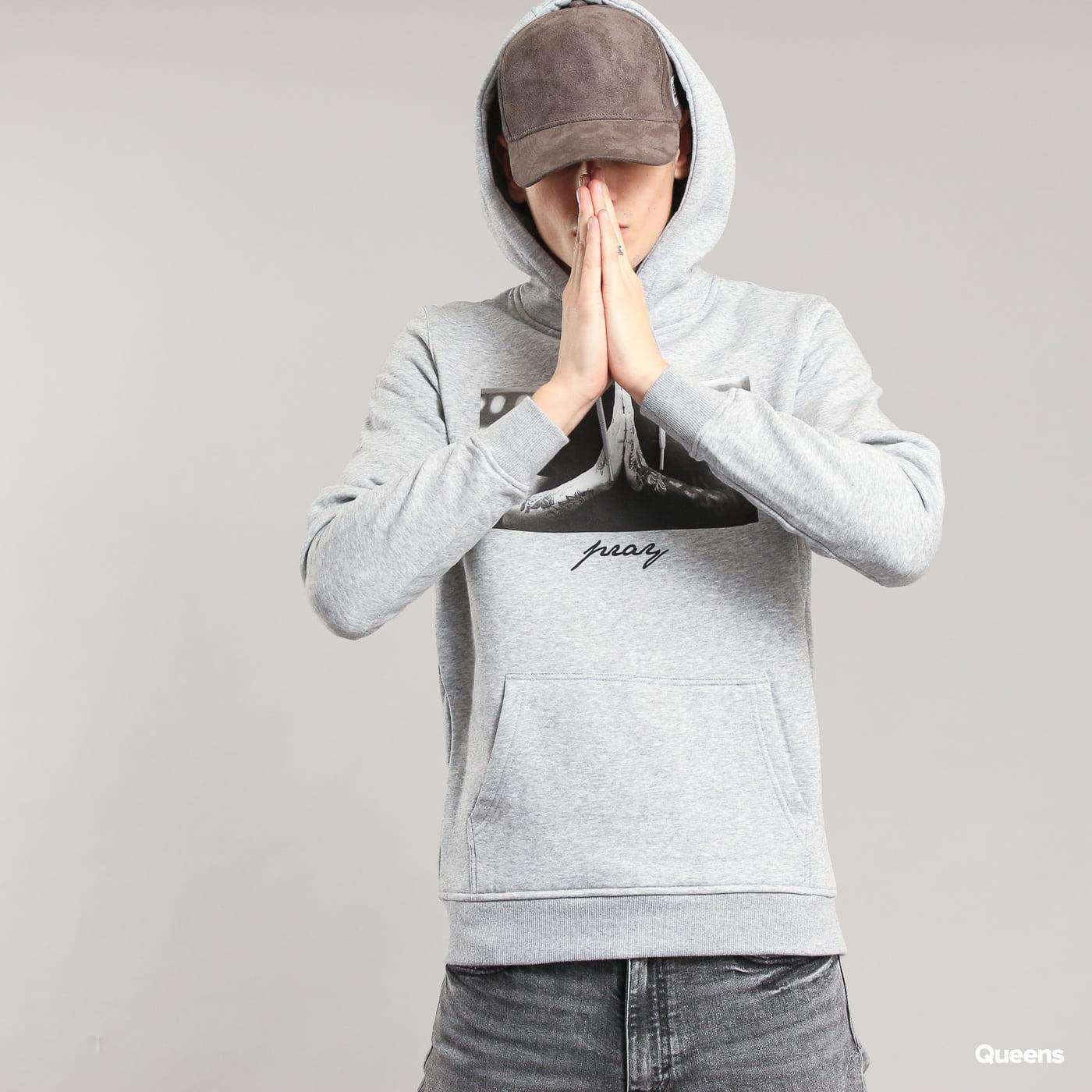 Urban Classics Pray Hoody melange šedá