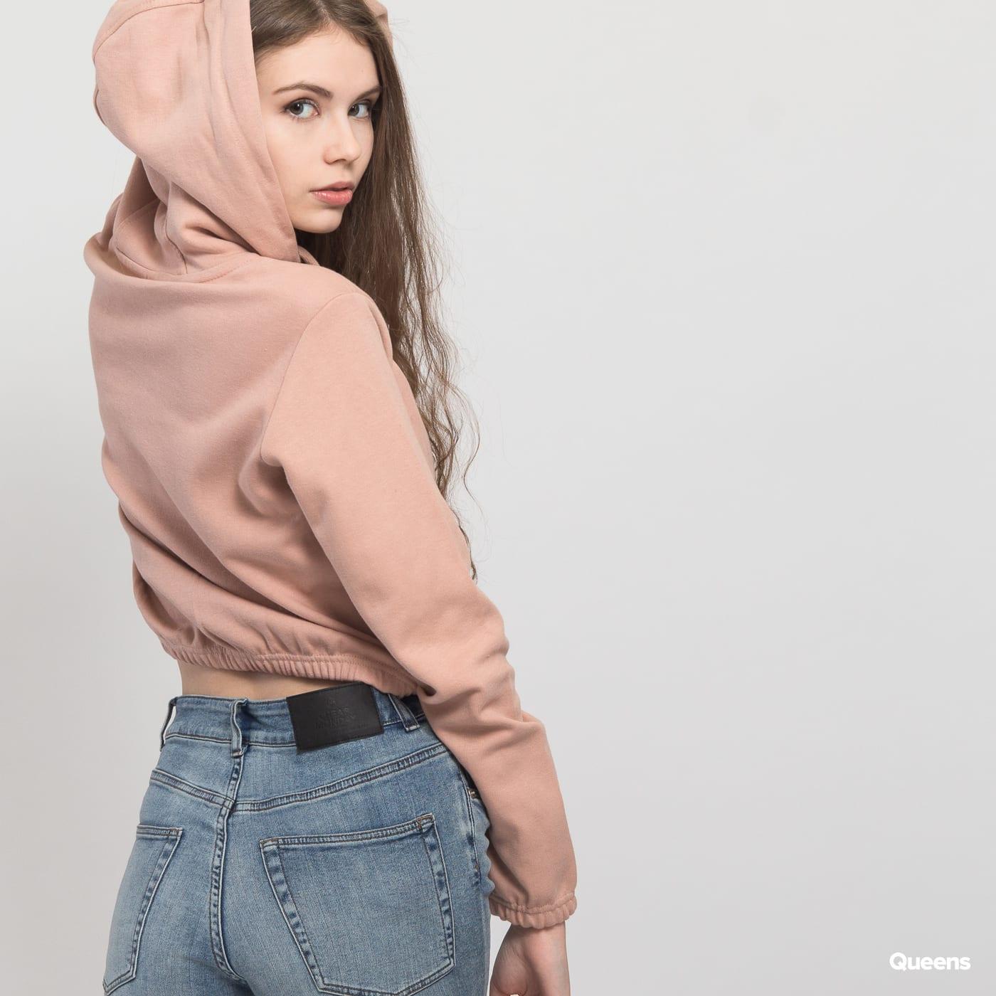 Urban Classics Ladies Short Hoody tmavoružová
